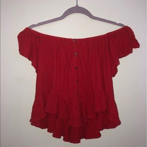 Free People Off the Shoulder Red Shirt